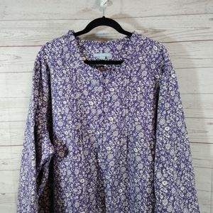 Only necessities long flannel nightgown floral